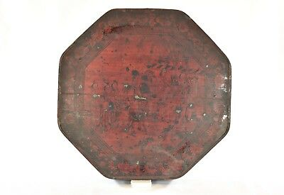 Antique Chinese Red & Black Hand Painted Wooden Lacquer Fruit Tray / Box w Dish