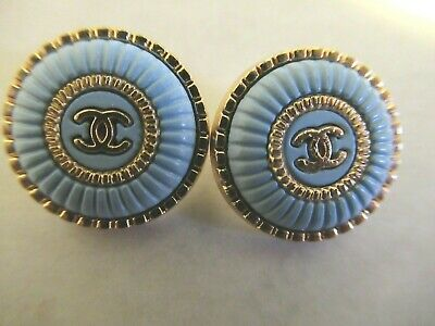 Chanel 2 buttons 16mm, OVER 1/2''  lot of 2  BABY BLUE GOLD TONE  metal CC