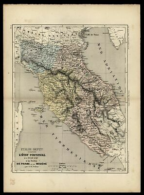 Central Italy Papal States c.1855 Tuscany Parma Map Dufour