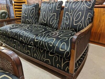 French art Deco Walnut Bergere Three Piece Suite, sofa and armchairs