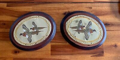 2 Vintage Wood & Brass Gold Metal Pheasants Oval Wall Hangings, Cabin Decor