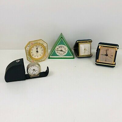 Job Lot of 5 Vintage Travel Alarm Clocks Spares &/Or Repairs  - B817