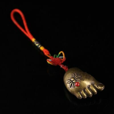 Collect China Old Bronze Mosaic Turquoise Hand-Carved Spider Foot Noble Pendant