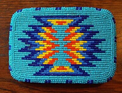 Shoshone Native American Quality Fully Cut Beaded Sky Blue Belt Buckle Awesome !