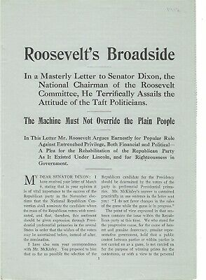 Theodore Roosevelt Broadside Seeks To Rehabilitate Republican Party