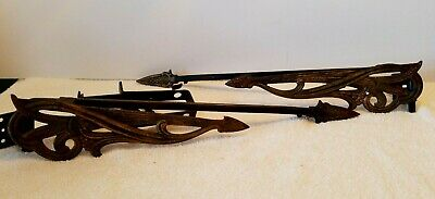 Pr Victorian/Deco Fancy Adjustable Swing Arm Curtain Rods w Wall Brackets
