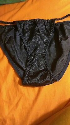 VTG 80s string bikini polyester panties, XL, midnight blue, w/etched flowers