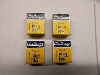 """four boxes of Challenge Panel Pins 3/4"""" - 20mm bright. 50g per box = 200g"""