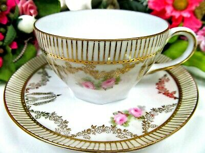 Prussia tea cup and saucer PINK ROSE gold gilt teacup Germany painted