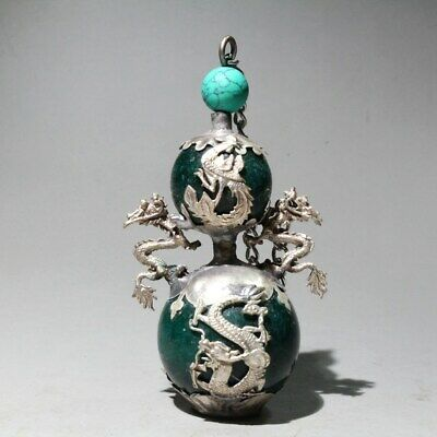 Collectable Old Miao Silver Armour Jade Carve Phoenix Dragon Noble Snuff Bottles
