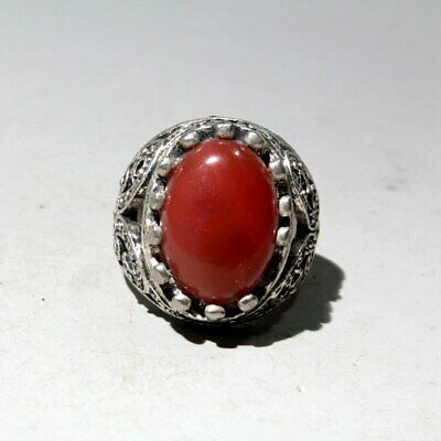 Collectable China Old Miao Silver Mosaic Agate Hand-Carved Auspicious Noble Ring