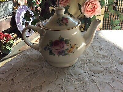"Sadler England Windsor Individual Teapot 5"" 12 oz. Rose Floral Gold Trim"