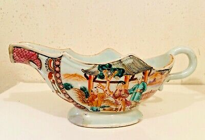 Antique Chinese Export Famille Rose Qianlong Mandarin Gravy Boat  9 inch