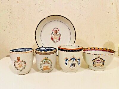 Antique Chinese Export Armorial Cup Bowl Saucer Lot