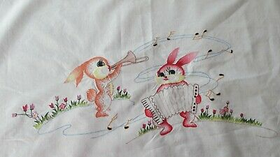 Vintage lovely Easter Embroidered Tablecloth or cotton fabric 135 x 92cms
