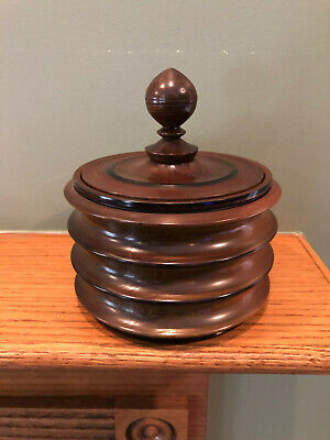 Beautiful Hand Turned Wood Lidded Bowl Jar Container Vessel