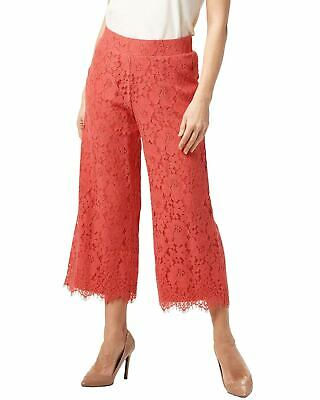 Isaac Mizrahi Live! Womens Floral Lace Knit Culotte Pants Medium Coral A353075