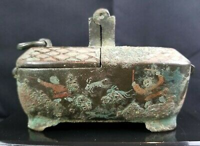 Chinese Han Dynasty Painted Bronze Hinged Oil Lamp CHRISTIES Provenance