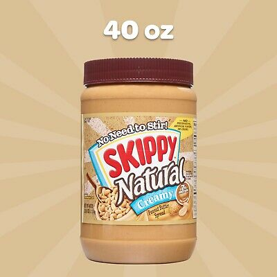 NEW SKIPPY NATURAL CREAMY PEANUT BUTTER SPREAD 40 OZ (1.13kg) JAR 7g PROTEIN BUY