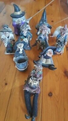 Witch figurines, ceramic x 9 - Collectables