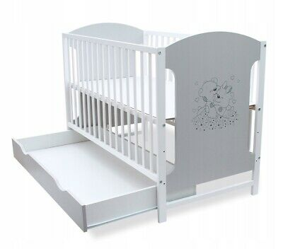 New Wooden Baby Cot, White With Drawer!!! Mattress Option.