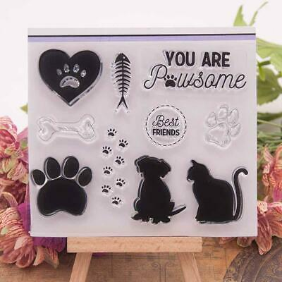 Cat Dog Paw Print Silicone Clear Rubber Stamps Seal Album Scrapbooking Card H2P6