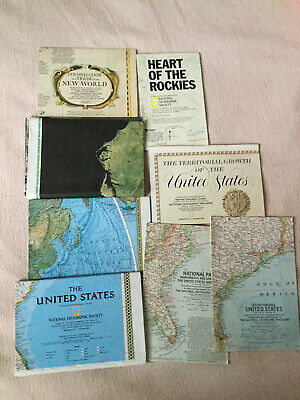 Lot of 8 National Geographic Insert/maps - United States