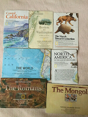 Lot of 7 National Geographic Insert/maps - Romans - Mongols - Dinosaurs