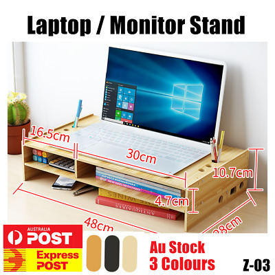 Wooden Monitor Computer Laptop Stand Riser Desktop Holder File Storage