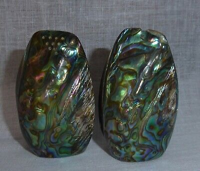 Vintage New Zealand Paua Shell Salt and Pepper Shakers