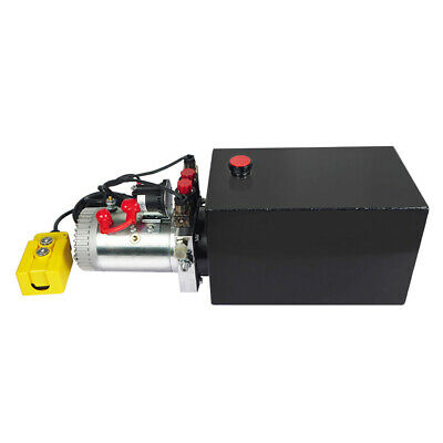 Double Acting Hydraulic Pump DC12V Trailer Power Unit - 12 Quart Steel Reservoir