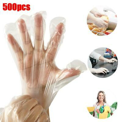 500pcs Plastic PE Clear Disposable Gloves Food Hygiene Cleaning Catering Beauty