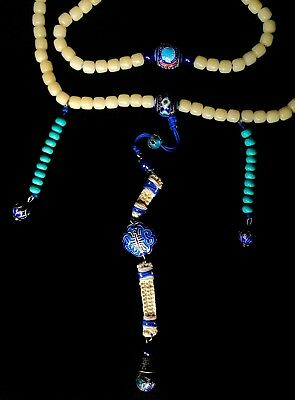 Chinese Necklace Peking glass, Turquoise, Silver and Enamel Beads