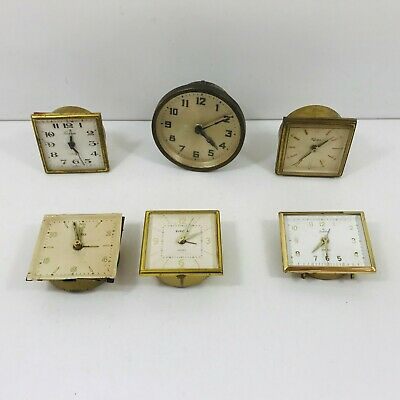 Job Lot of 6 Vintage Travel Alarm Clocks Spares &/Or Repairs Restoration Project