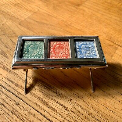 Rare Antique Solid Silver Triple Stamp Box or Holder, Hallmarked Chester 1901