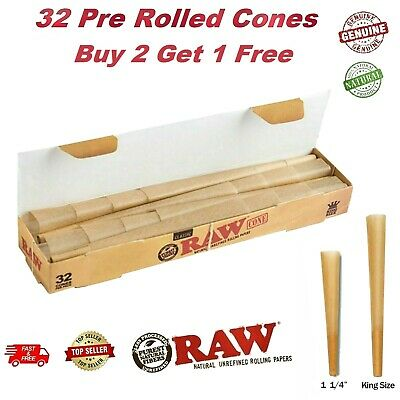 RAW Classic/Organic King Size Cones Mega Pack 32 Cones PreRolled Rolling Papers