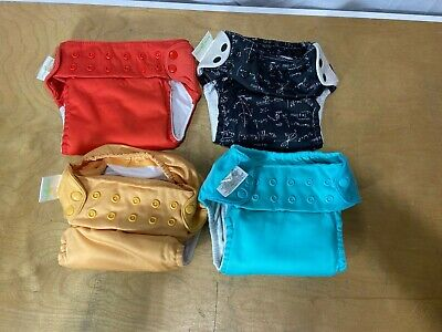 Four (4)  Bumgenius AIO All In One Cloth Diapers Solid & Print GUC