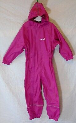 Girls Peter Storm Dark Pink Hooded Waterproof All in One Rain Suit Age 2-3 Years