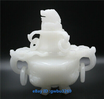 Exquisite Chinese Hand Carved 100% Natural Jade Dragon Incense Burner