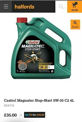 Collection Only: Castrol Magnatec 5W-30 C2 Fully Synthetic Car Engine Oil 4 L