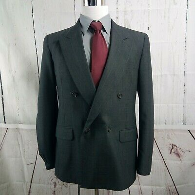 Evan Picone 41R 2 Button Double Breasted Dk Gray Striped Suit Blazer Sports Coat