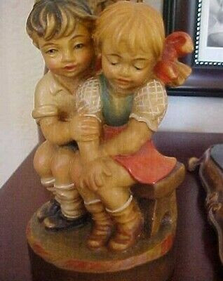 """DOLFI Italy Carved Wood Hand Painted FIRST LOVE Limited Ed. 4 1/2"""" PRISTINE"""
