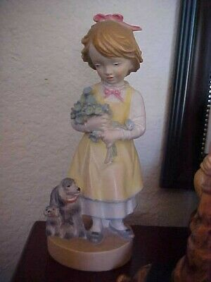 "DOLFI Italy Carved Wood Hand Painted Girl w Dogs 6"" Signed 76/4000 PRISTINE"