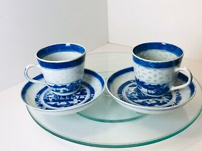 A pair of Chinese Antique 18th Century Blue & White Porcelain Tea Cup & Saucer