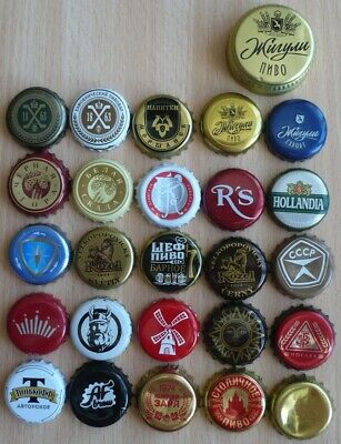 Lot of 26 used beer bottle caps from Russia