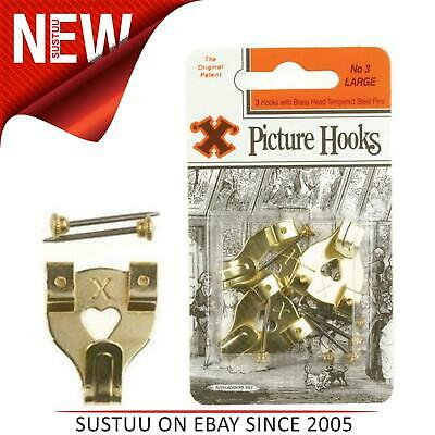 X Picture Hooks No.3 Brass Plated 3 Pack Blister