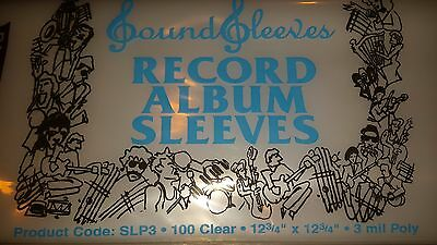 "100 Record Poly Outer Sleeves 12""  3 mil Album LP"