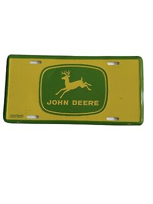 VTG JOHN DEERE Logo Metal License Plate 1956/1967 Era Green and Yellow