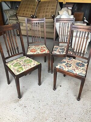 4 X Vintage Arts Crafts Antique Dining Chairs Set  16/3/X/LB