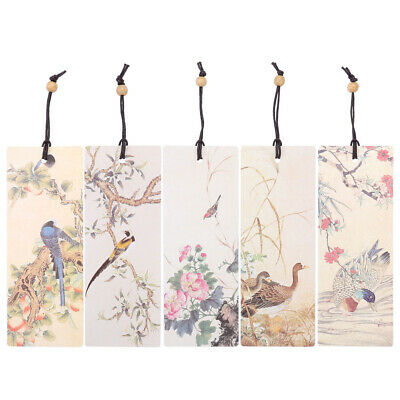 5pcs Beaded Bookmark Flower Bird Note Book Bookmarkers Stationery Page Marker